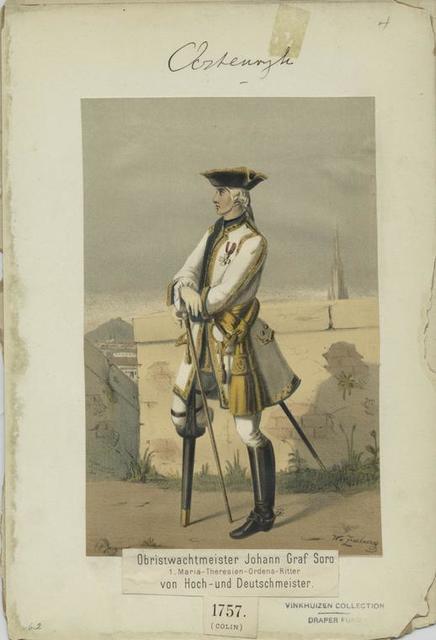 Obristwachtmeister Johann Graf Soro, 1. Maria-Theresien-Ordens-Ritter, Von Hoch-und Deutschmeister, 1757