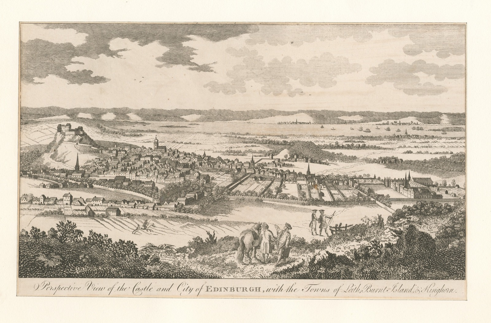 Perspective view of the castle and city of Edinburgh, with the towns of Leith, Burnt-Island, and Kinghorn.