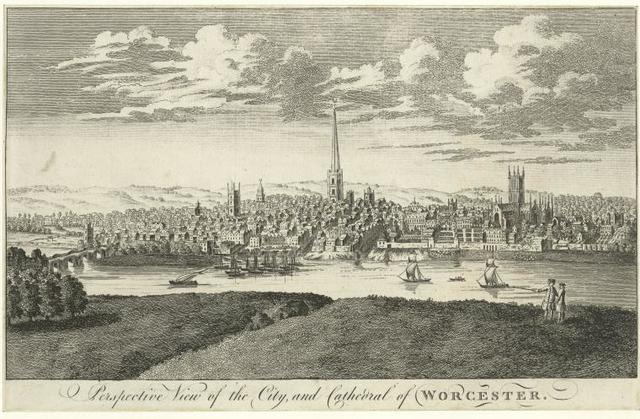 Perspective view of the city, and cathedral of Worcester.