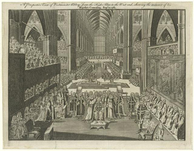 A perspective view of Westminster Abbey, from the high altar to the west end, shewing the manner of his Majesty's crowning.