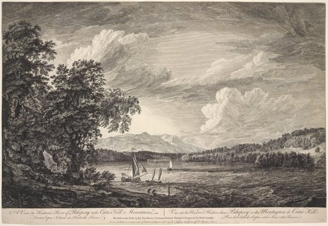 A view in Hudson's River of Pakepsey & the Catts-Kill mountains. From Sopos Island in Hudson's River