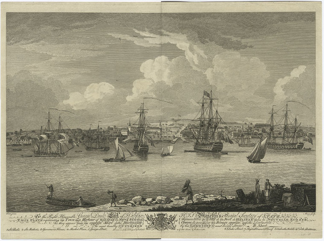 The town and harbour of Halifax in Nova Scotia as they appear from the opposite shore called Dartmouth.