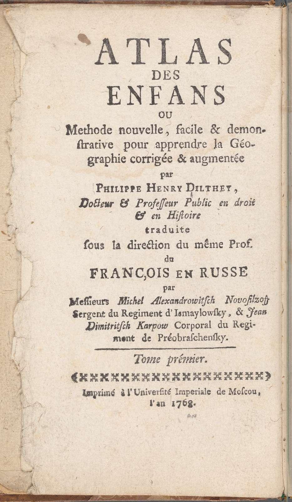 Atlas des enfans..., [French title page]
