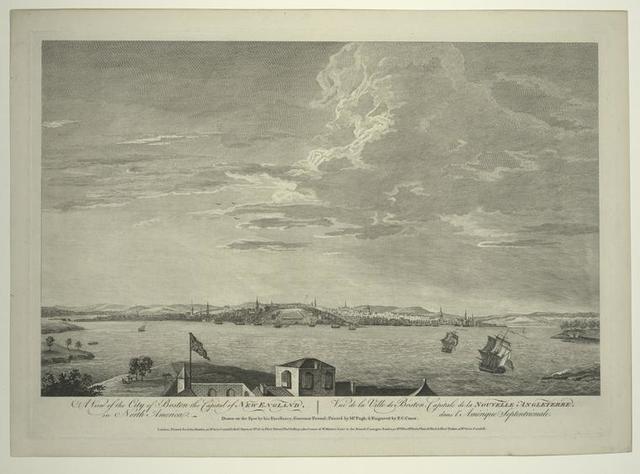 A view of the city of Boston the capital of New England, in North America = Vue de la ville du Boston, capitale de la Nouvelle Angleterre dans l'Amérique septentrionale.