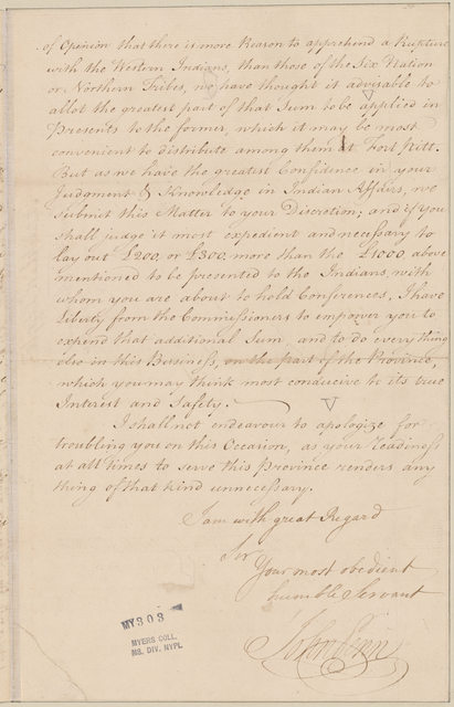Penn, John. Philadelphia. To Sir William Johnson
