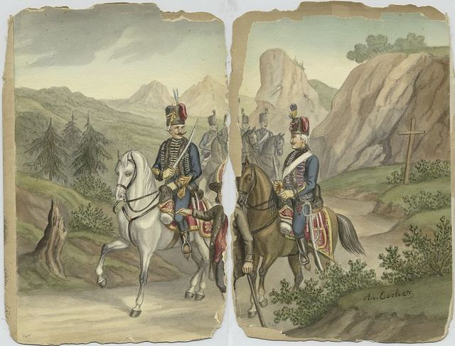 Mounted Hussars guided by an umnounted man with a cane