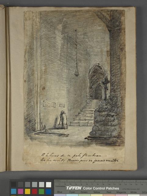 "Standing figure in cathedral hall with caption below, ""A la lueur de ce pâle flambeau"