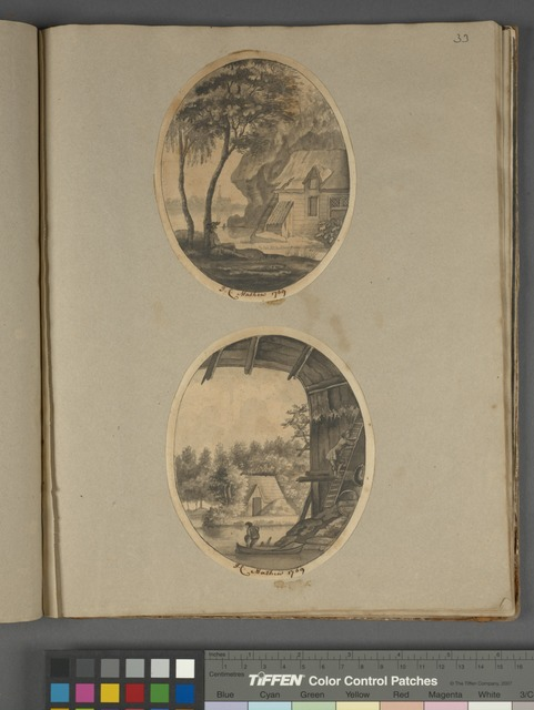 "Two rustic scenes with houses and trees, both signed ""J. C. Mathew, 1769"""