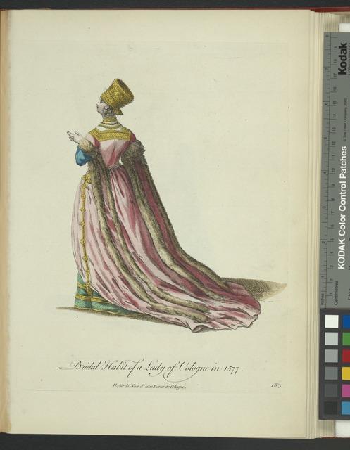 Bridal habit of a lady of Cologne in 1577. Habit de noce d'une dame de Cologne.
