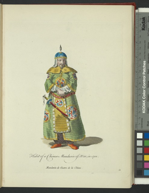 Habit of a Chinese mandarin of war in 1700. Mandarin de guerre de la Chine.