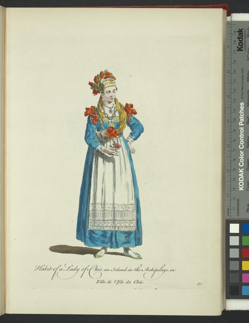 Habit of a lady of Chio, an island in the Archipelago in [sic]. Fille de l'Isle de Chio.