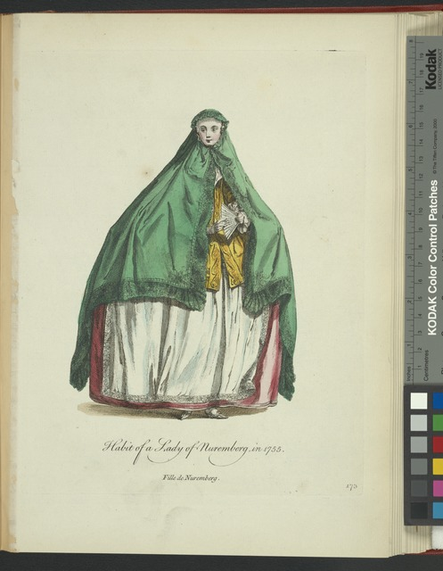 Habit of a lady of Nuremberg in 1755. Fille de Nuremberg.