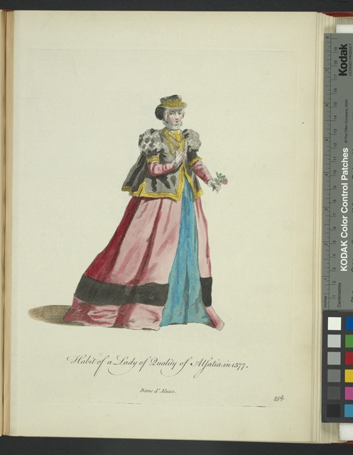 Habit of a lady of quality of Alsatia in 1577. Dame d'Alsace.