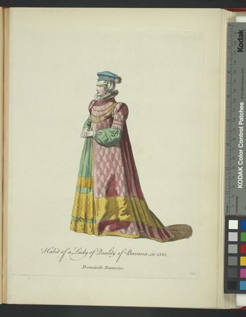 Habit of a lady of quality of Bavaria in 1581. Demoiselle Bavaroise.