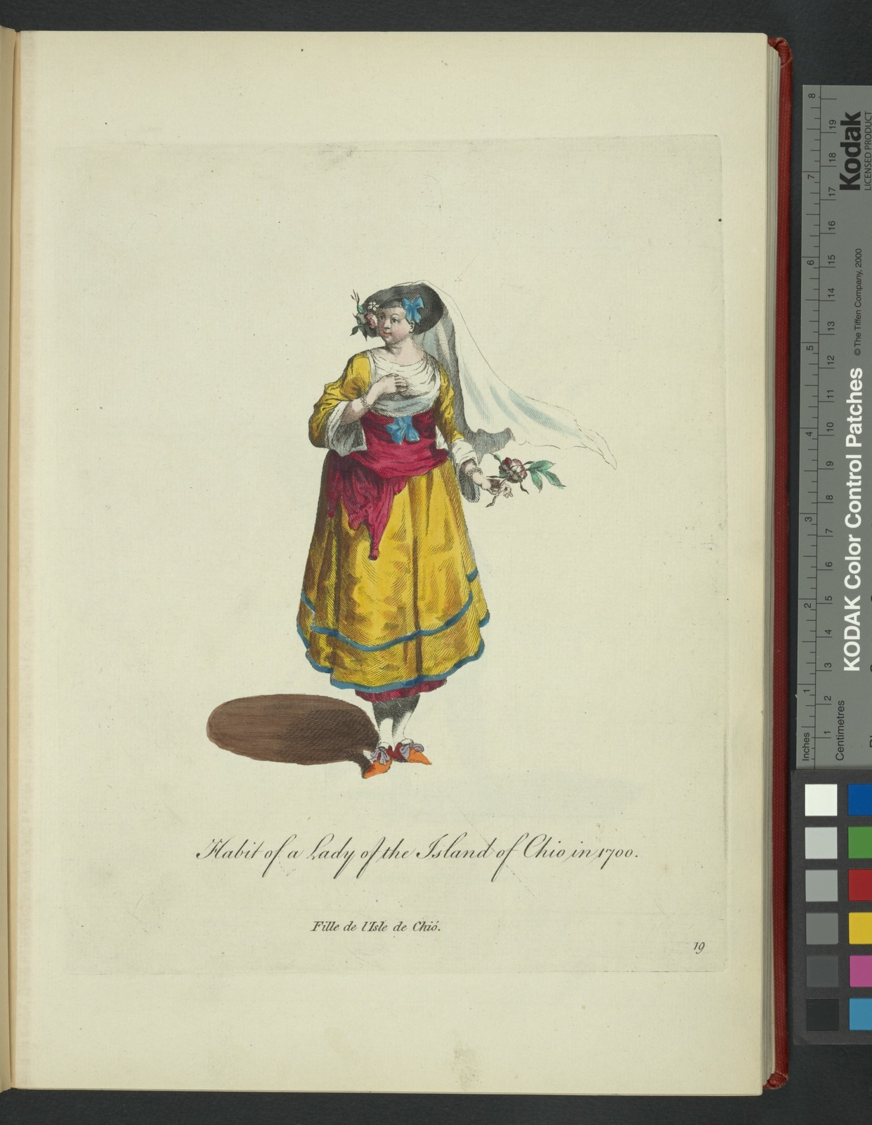 Habit of a lady of the island of Chio in 1700. Fille de l'Isle de Chió in 1700.