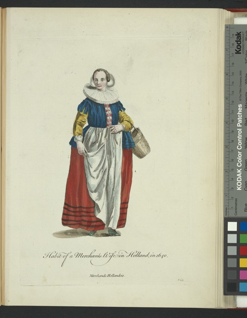 Habit of a merchants wife in Holland in 1640. Marchande Hollandois.