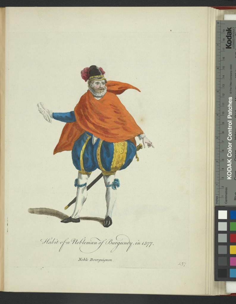 Habit of a nobleman of Burgundy in 1577. Noble Bourguignon.