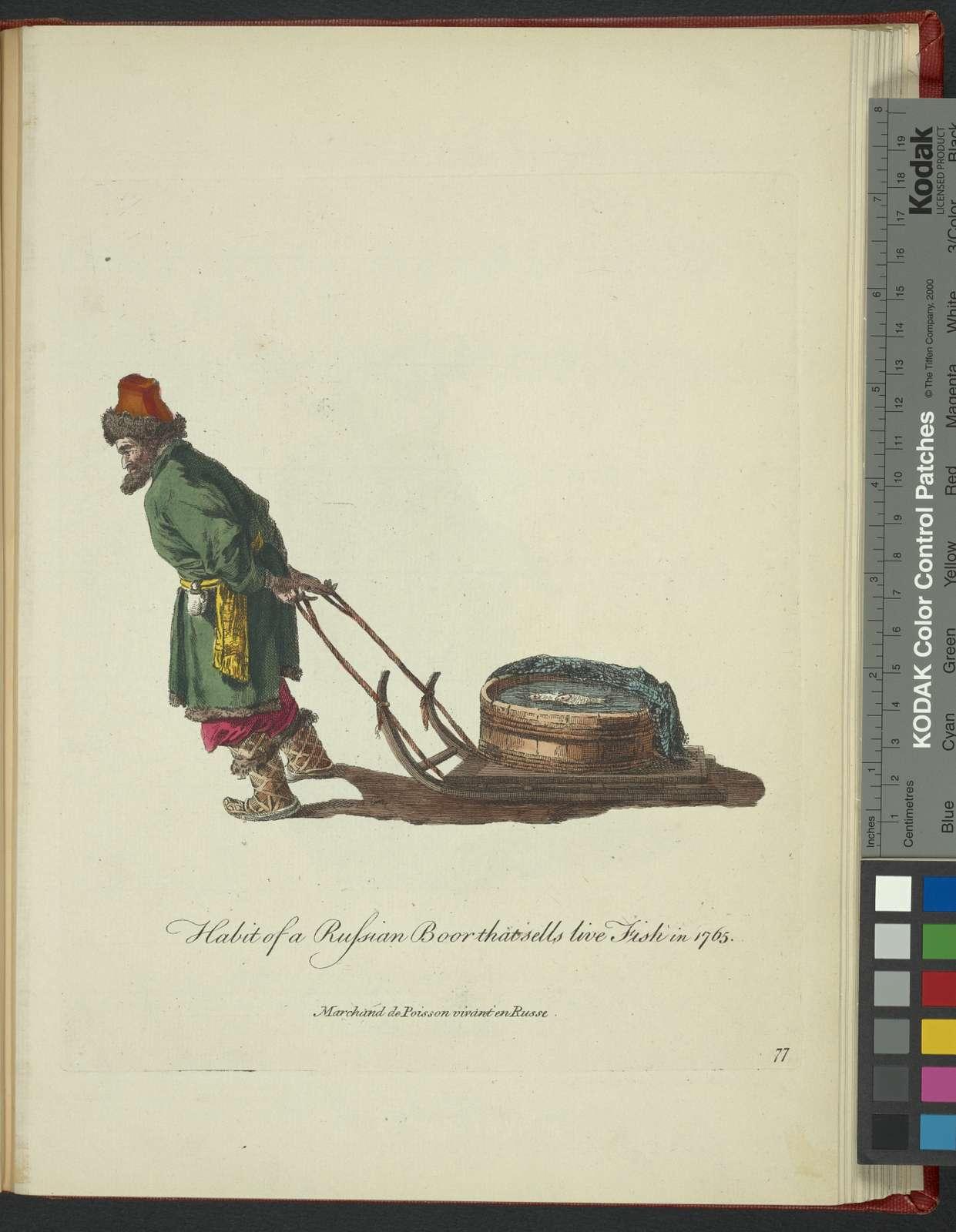 Habit of a Russian boor that sells live fish in 1765. Marchand de poisson vivant en Russe.
