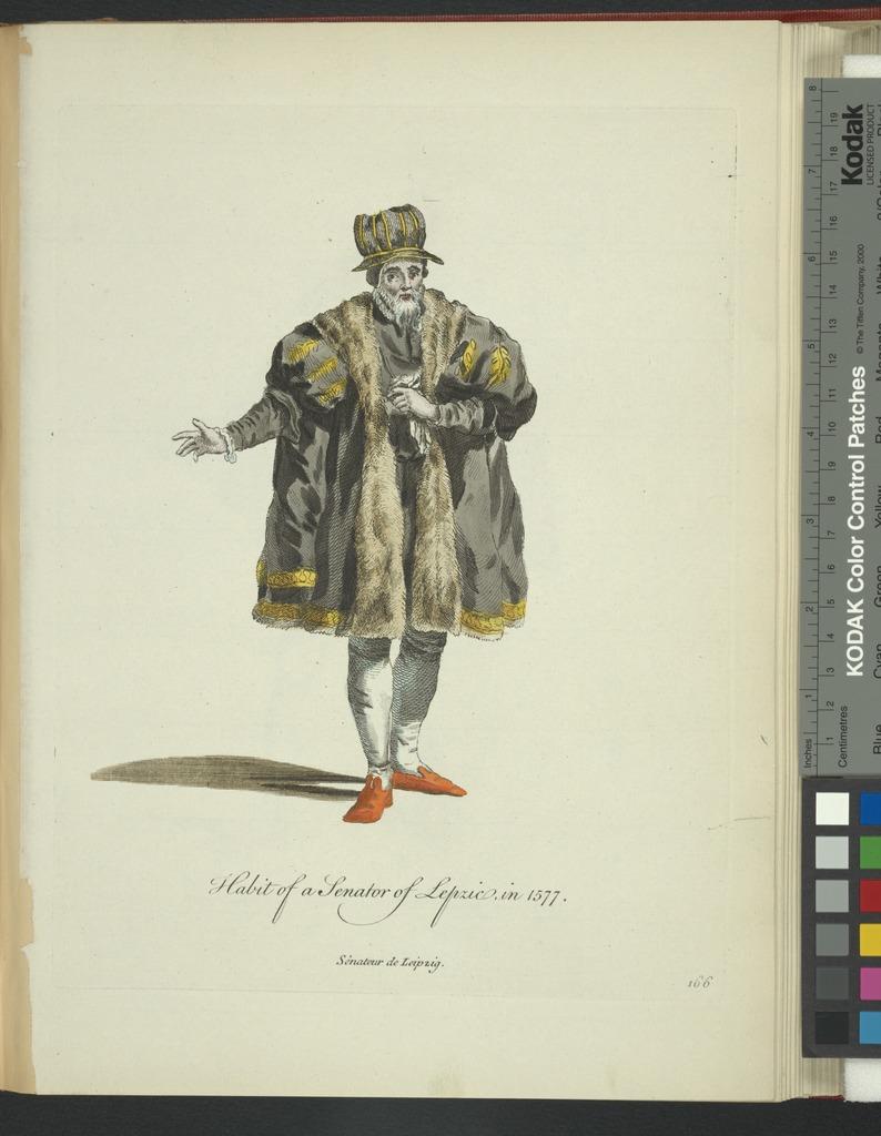 Habit of a senator of Lepzic in 1577. Sénateur de Leipzig.