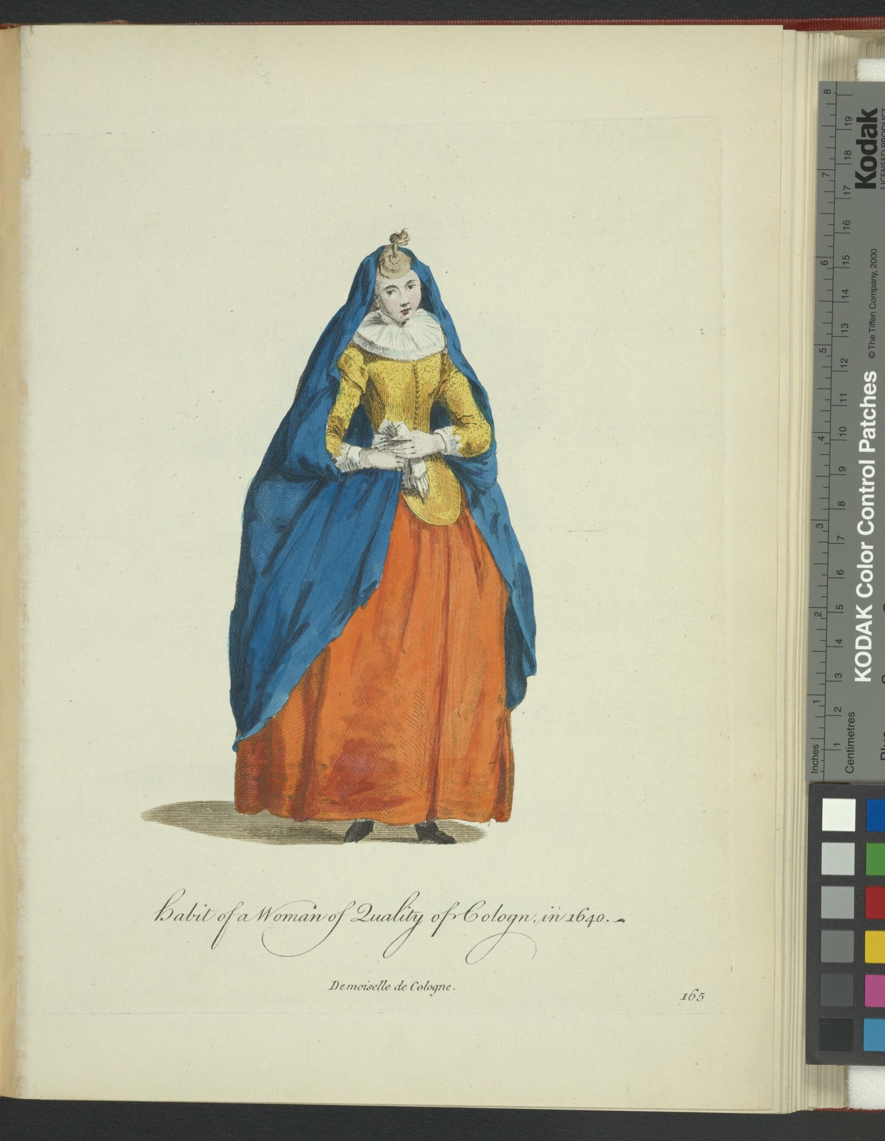 Habit of a woman of quality of Cologn[sic] in 1640. Demoiselle de Cologne.