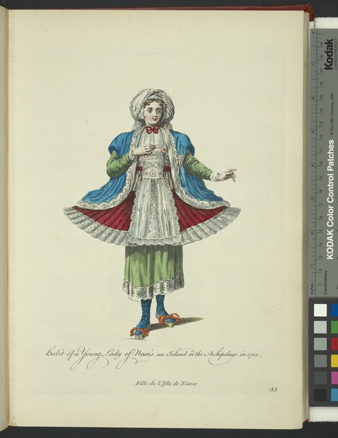 Habit of a young lady of Naxis an island in the Archipelago in 1700. Fille de l'Isle de Naxos.