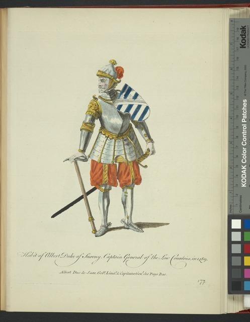 Habit of Albert Duke of Saxony captain general of the Low Countries in 1489. Albert Duc de Saxe govur. lieutt .& capitaine genl. des Pays Bas.