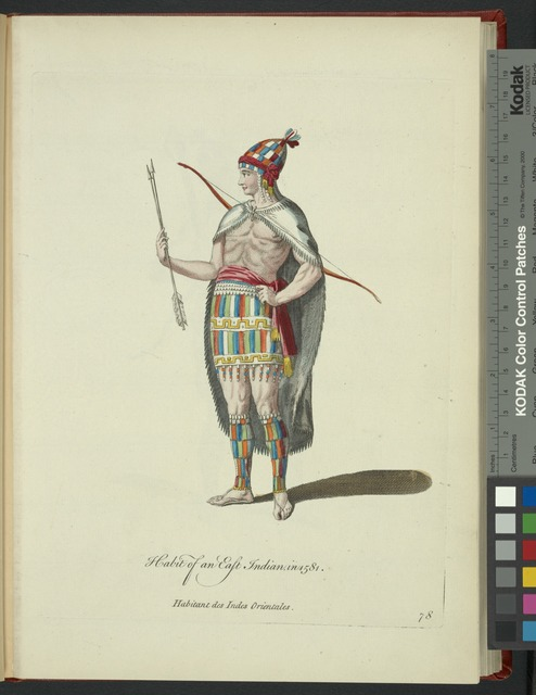 Habit of an East Indian in 1581. Habitant des Indes Orientales.