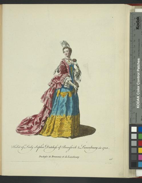 Habit of lady Sophia, Dutchess of Brunswick & Lunenbourg in 1700. Duchesse de Brunsuic et de Lunebourg.