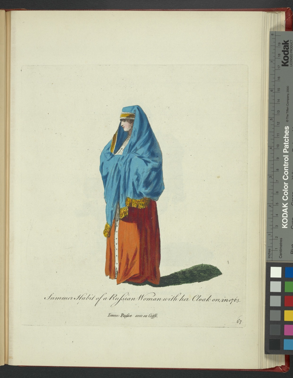 Summer habit of a Russian woman with her cloak on in 1765. Femme Russe avec sa coësse.