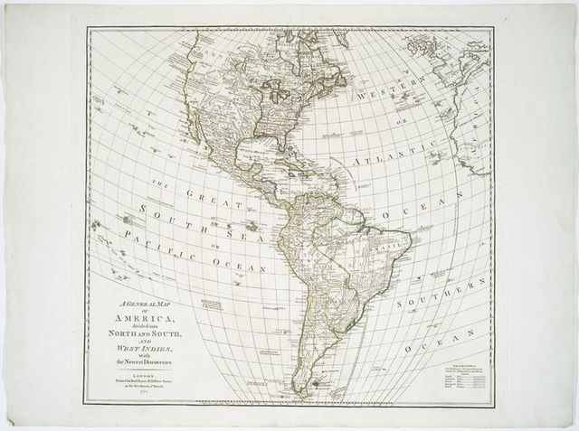 A General map of America divided into North and South, and West Indies : with the newest discoveries.