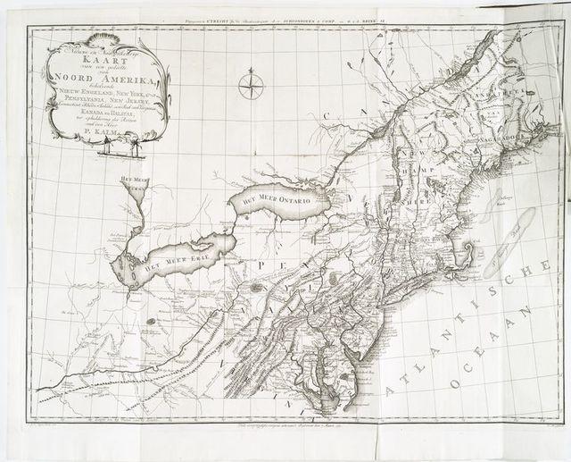 Nieuwe en nauwkeurige kaart van een gedeelte van Noord Amerika : behelzende Nieuw Engeland, New York, Pennsylvania, New Jersey, Connecticut, Rhode Island, een stuk van Virginia, Kanada en Halifax, ter opheldering der reizen van den Heer P. Kalm