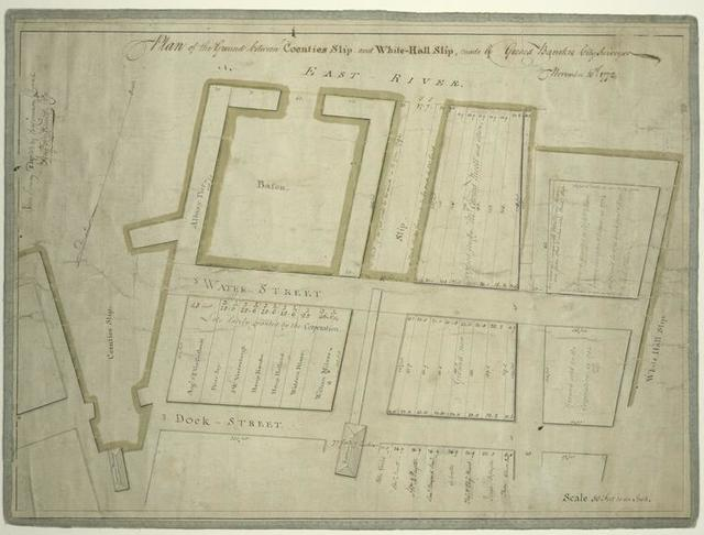 Plan of the ground between Coenties Slip and White-hall Slip