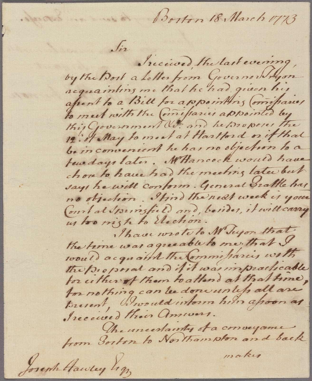 Letter to Joseph Hawley [Northampton]