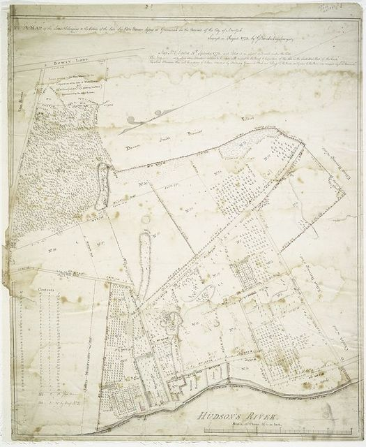No. 1 A map of the lands belonging to the estate of the late Sir Peter Warren lying at Greenwich in the outward of the city of New York