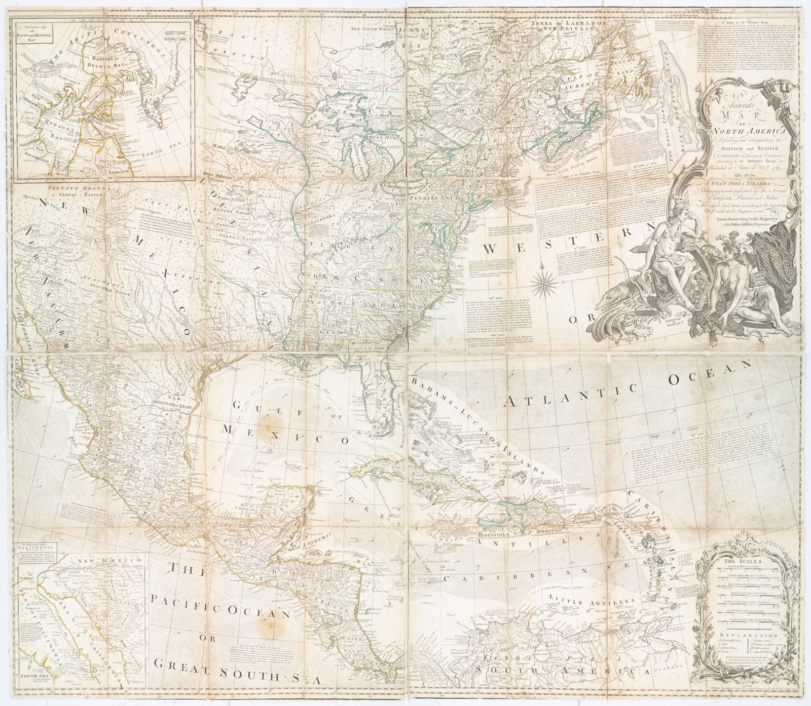 An accurate map of North America : describing and distinguishing the British and Spanish dominions of this great continent according to the definitive treaty concluded at Paris 10th Feby. 1763 : also all the West India Islands belonging to, and possessed by the several European princes and states