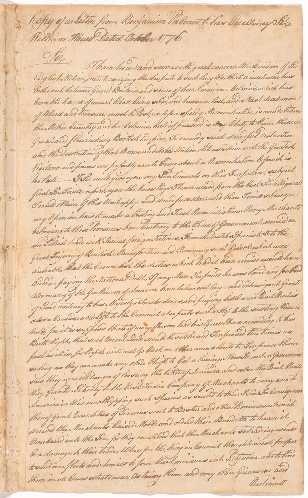 Letter from Benjamin Palmer to Sir William Howe