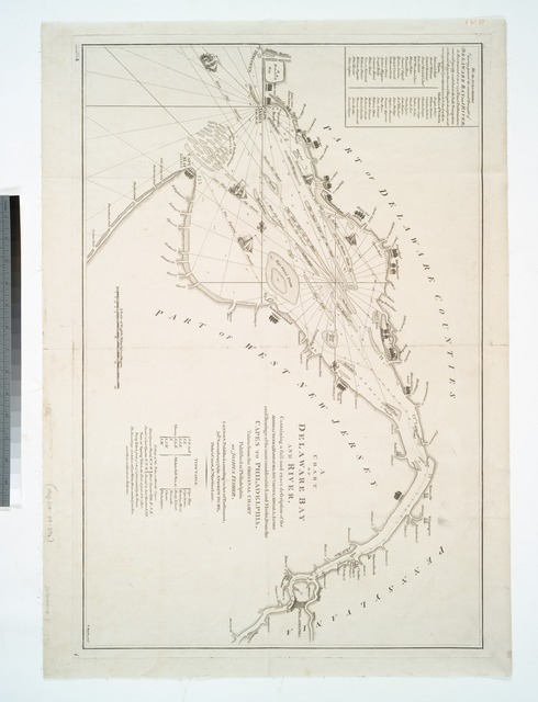 A chart of Delaware Bay and River : containing a full and exact description of the shores, creeks, harbours, soundings, shoals, sands, and bearings of the most considerable land marks, from the capes to Philadelphia