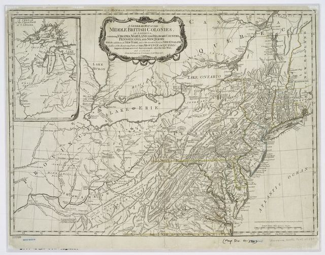 A general map of the middle British colonies, in America : containing Virginia, Maryland, the Delaware counties, Pennsylvania, and New Jersey ; with the addition of New York, and of the greatest part of New England, as also of the bordering parts of the province of Quebec