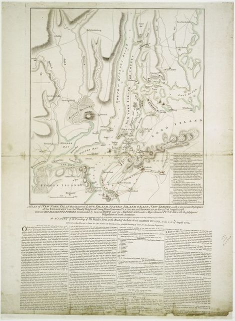 A plan of New York island, with part of Long Island, Staten Island and east New Jersey, with a particular description of the engagement of the woody heights of Long Island, between Flatbush and Brooklyn, on the 27th, of August 1776
