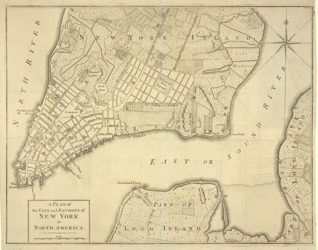 A plan of the city and environs of New York in North America.