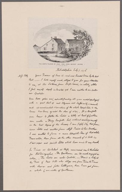 Adams, John. Philadelphia. To Polly Palmer