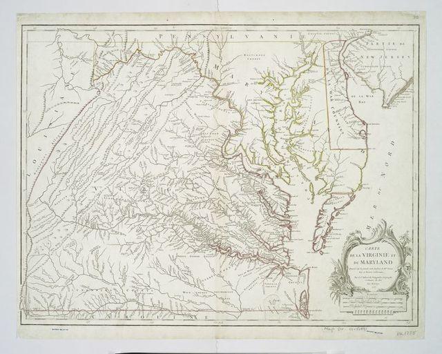 Carte de la Virginie et du Maryland dressée sur la grande carte angloise de Mrs. Josué Fry et Pierre Jefferson,