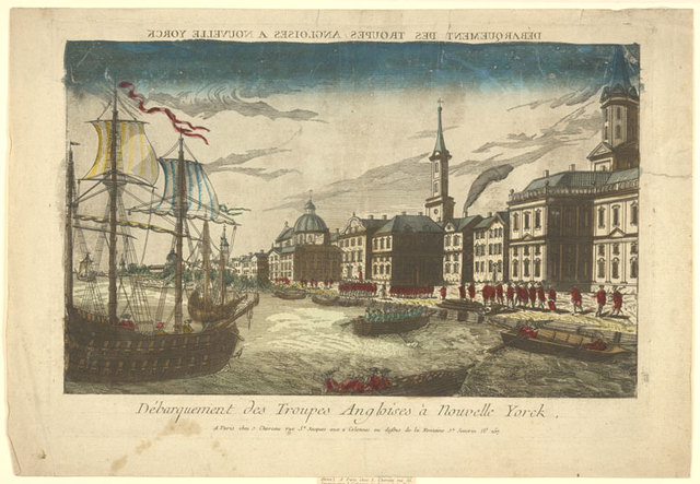 Débarquement des troupes Angloises à Nouvelle Yorck