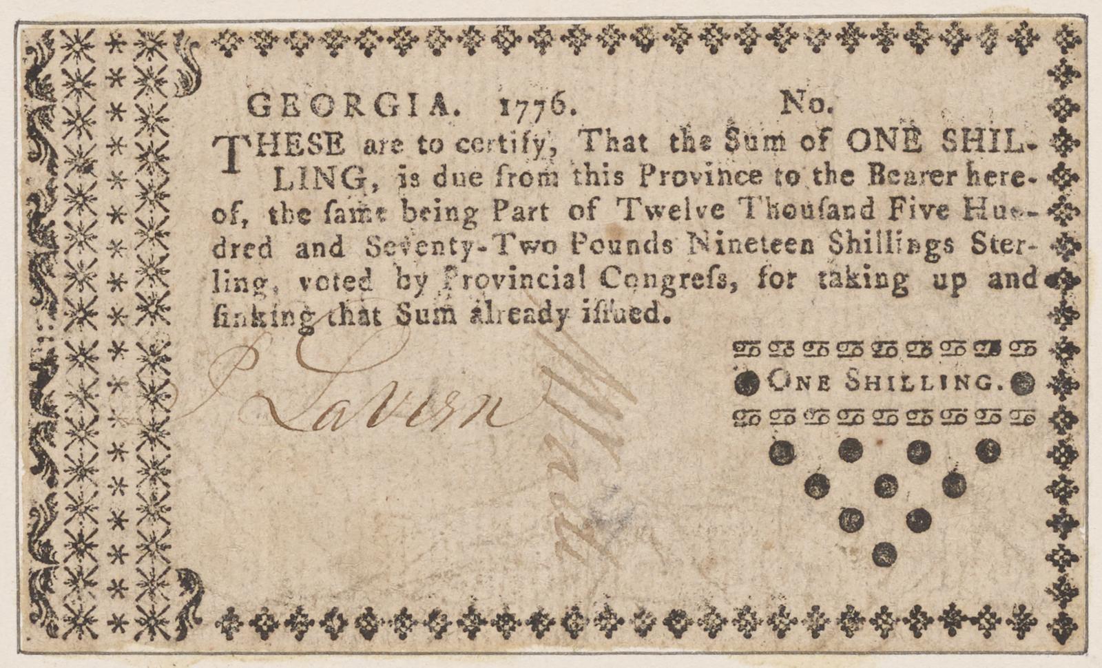 Georgia paper money. One shilling