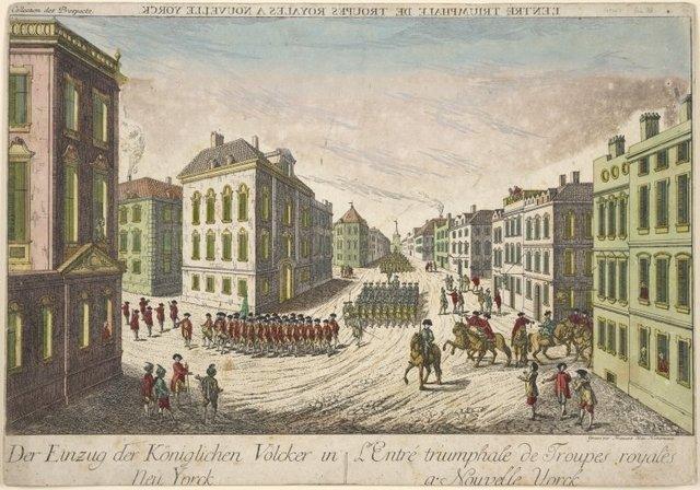 L'entrée triumphale de troupes royales a Nouvelle Yorck