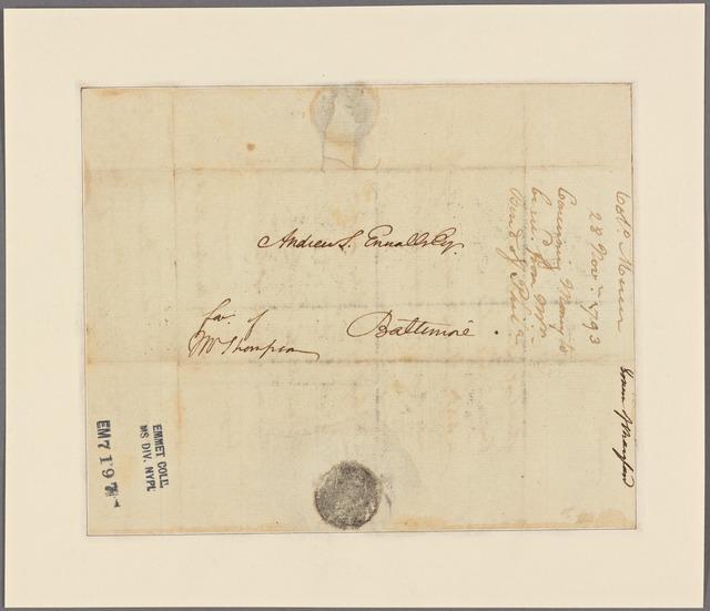 Letter to Andrew S. Ennalls, Baltimore