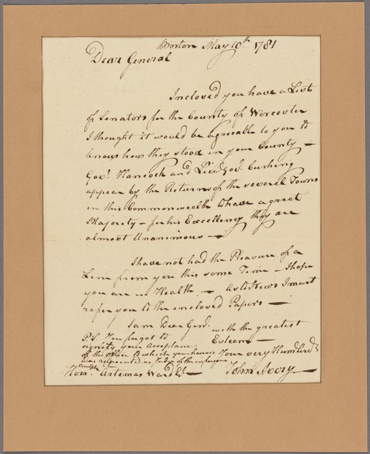 Letter to Artemas Ward [Shrewsbury, Mass.]