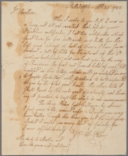 Letter to [Benjamin or Christopher Ellery, Newport, R. I.?]