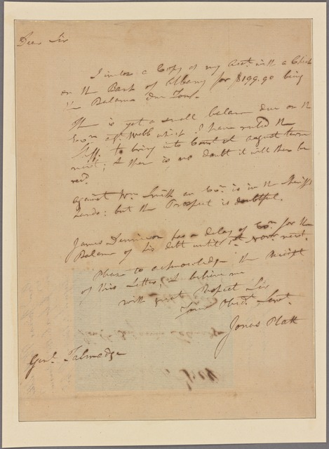 Letter to Benjamin Talmadge, Litchfield, Conn.