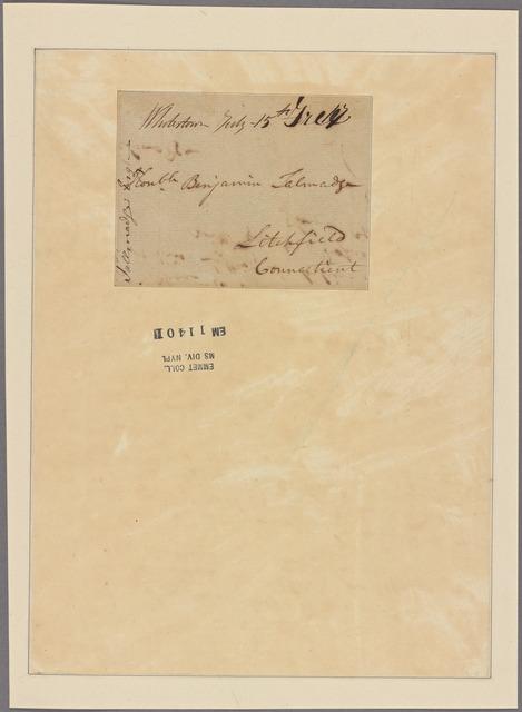 Letter to Benjamin Talmadge, Litchfield, Conn.